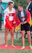 Hamburg. GERMANY. right, Men's Single Sculls Gold medalist. GER JM1X. Tim Ole NASKE. left Silver Medalist. CAN JM1X Daniel DE GROOT.  Sunday A Finals. at the 2014 FISA Junior World rowing. Championships.  15:32:36  Sunday  10/08/2014  [Mandatory Credit; Peter Spurrier/Intersport-images]