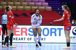 Pauletta Foppa of France celebrates as Line Haugsted and Kristina Jørgensen (R) react. EHF Euro 2020 Group A match between France and Denmark in Jyske Bank Boxen, Herning, Denmark on December 8, 2020. Photo Credit: Allan Jensen/EVENTMEDIA.