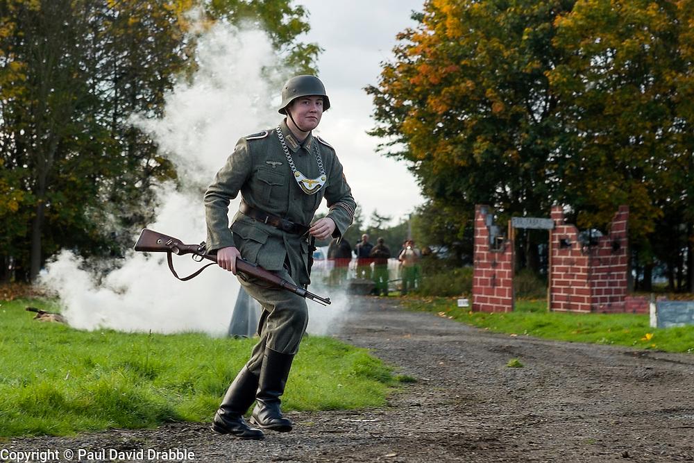 A Re-enactor portrayiing a Feldgendarme during a battle battle re-enactment in on Pickering Showground<br /> <br /> 17/18 October 2015<br />  Image © Paul David Drabble <br />  www.pauldaviddrabble.co.uk