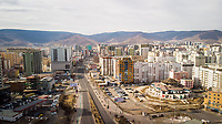 ULAANBAATAR, MONGOLIA - 25 APRIL 2019: An eerily quiet Ulaabaatar as cars are banned from the roads for a few hours for disaster response testing. Taken near Peace Avenue, Ulaanbaatar.