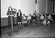 """These Obstreperous Lassies"" Book Launch.  (R93)..1988..15.12.1988..12.15.1988..15th December 1988..A book which chronicles an important aspect of Irish social history was launched in Larkin Hall. ""These Obstreperous Lassies"" written and researched by Mary Jones, details the seventy three years of the Irish Women Workers Union and of the women who were involved in the union..With Countess Markievicz as its first president, The Union began the fight for equal pay and fair treatment under the leadership of women like helen Chenevix, Louise Bennett and Helena Molloy. They fought for the rights of vulnerable workers such as Laundresses,print workers,box makers,nurses and dressmakers..The Author, Mary Jones, is a full time researcher specialising in Women and Work...Image shows the Author of ""These Obstreperous Lassies""speaking about her book at its launch in Larkin Hall,Parnell Square,Dublin."