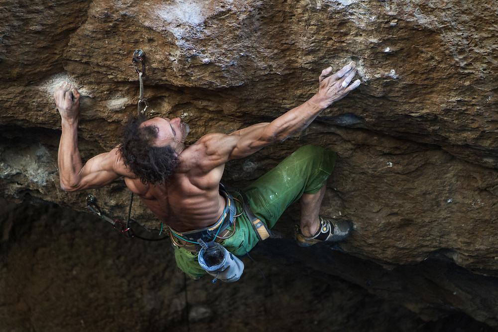 Rock climbing during the Petzl Roc Trip in Piedra Parada. Client: Alta Vertical
