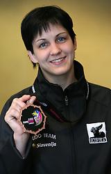 Petra Nareks of Judo Klub Sankaku (-52 kg) at the arrival  from European Championship in Lisbon (11th april 2008 - 13th april 2008),  on April 14, 2008 in Ljubljana, Slovenia. (Photo by Vid Ponikvar / Sportal Images)/ Sportida)