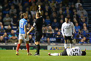 Marcus Harness (10) of Portsmouth is shown a yellow card, booked during the EFL Sky Bet League 1 match between Portsmouth and Ipswich Town at Fratton Park, Portsmouth, England on 19 October 2021.