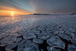 Raudfjorden in March with ocean ice, Spitsbergen, Svalbard, Norway