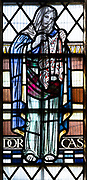 Stained glass window of Dorcas, Seend church, Wiltshire, England, UK 1937 Joseph Bell
