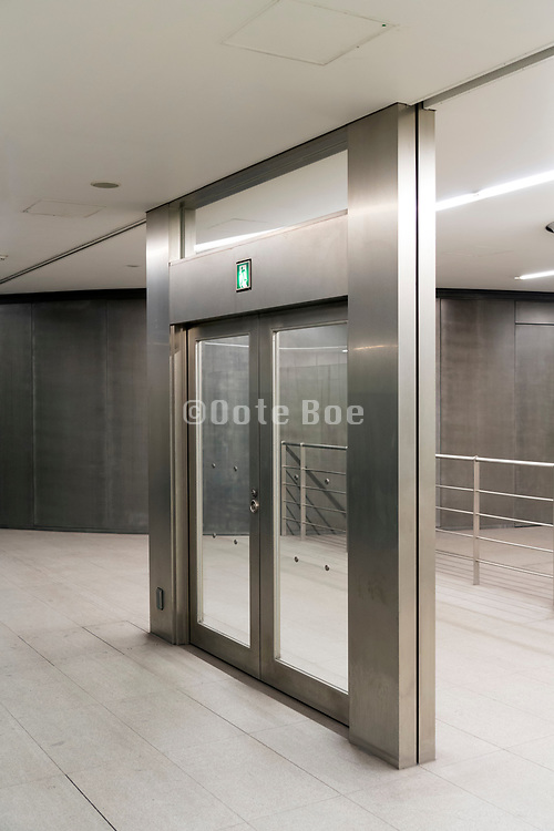 emergency exit doors going nowhere at Shibuya station Tokyo Japan