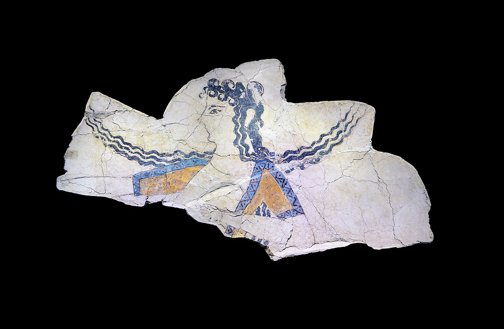 The Minoan 'Dancer' fresco deicting a doddess descending from the heavens, Knossos Palace, 1600-1450 BC . Heraklion Archaeological Museum., black background<br /> <br /> The Dancer fresco depits a goddess descending from the heavens as indicated by her locks of hair streaming in the wind. This is a familiar convention in Minoan iconogragraphy of a goddess hovering in the air, her right arm extended in a gesture of authority. This fragment is psrt of a larger epiphony scene .<br /> <br /> If you prefer to buy from our ALAMY PHOTO LIBRARY  Collection visit : https://www.alamy.com/portfolio/paul-williams-funkystock/minoan-art-artefacts.html . Type -   Heraklion   - into the LOWER SEARCH WITHIN GALLERY box. Refine search by adding background colour, place, museum etc<br /> <br /> Visit our MINOAN ART PHOTO COLLECTIONS for more photos to download  as wall art prints https://funkystock.photoshelter.com/gallery-collection/Ancient-Minoans-Art-Artefacts-Antiquities-Historic-Places-Pictures-Images-of/C0000ricT2SU_M9w