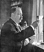 Svante August Arrhenius (1859-1927) Swedish physicist and chemist; Nobel prize for Chemistry 1902; Director of Nobel Institute 1905. Picture of Arrhenius in his laboratory published 1909.