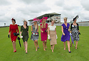 Rosanna Davison, (centre)Guest Judge Anthony Ryan?s Best Dressed Lady Competition 2012 with previous winners Mary Doyle, ( 2004 ), Carol Kennelly ( 2008 ), Jill Macken (2006) Ann Marie O? Leary ( 2010) Niamh O? Donovan ( 2003) and Suzanne McGarry ( 2011)  at the launch of the  Anthony Ryan?s Best Dressed Lady on the 2nd of August 2012  at the Galway Races. Photo:Andrew Downes.