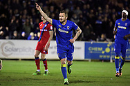 AFC Wimbledon midfielder Dean Parrett (18) celebrating after scoring goal to make it 3-0 during the EFL Sky Bet League 1 match between AFC Wimbledon and Rochdale at the Cherry Red Records Stadium, Kingston, England on 28 March 2017. Photo by Matthew Redman.