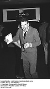 Lucian Freud at Lord Antony Lambton's book party. London 19/9/83. Film 83644f13<br /> © Copyright Photograph by Dafydd Jones<br /> 66 Stockwell Park Rd. London SW9 0DA<br /> Tel 0171 733 0108