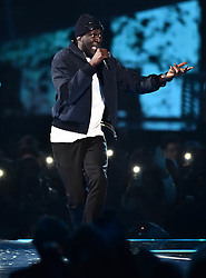 Ed Sheeran with Stormzy on stage at the BRIT Awards 2017, held at The O2 Arena, in London.<br /><br />Picture date Tuesday February 22, 2017. Picture credit should read Matt Crossick/ EMPICS Entertainment. Editorial Use Only - No Merchandise.