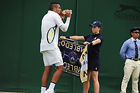 Tennis - 2019 Wimbledon Championships - Week One, Tuesday (Day Two)<br /> <br /> Men's Singles, 1st Round: Nick Kyrgios (AUS) v Jordan Thompson (AUS)<br /> <br /> Nick Kyrgios  takes a drink between points on Court 3<br /> <br /> COLORSPORT/ANDREW COWIE