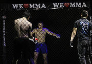 Kampfsport: MMA, We love MMA, Oberhausen, 31.01.2015<br /> Nepomuk Minarik (Alligator Rodeo Team Wuppertal, l.) - Philimon Schibli (Combat Club Cologne) <br /> © Torsten Helmke