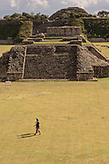 The Grand Plaza of Monte Albán pre-Columbian archaeological site in the Santa Cruz Xoxocotlán, Oaxaca, Mexico.