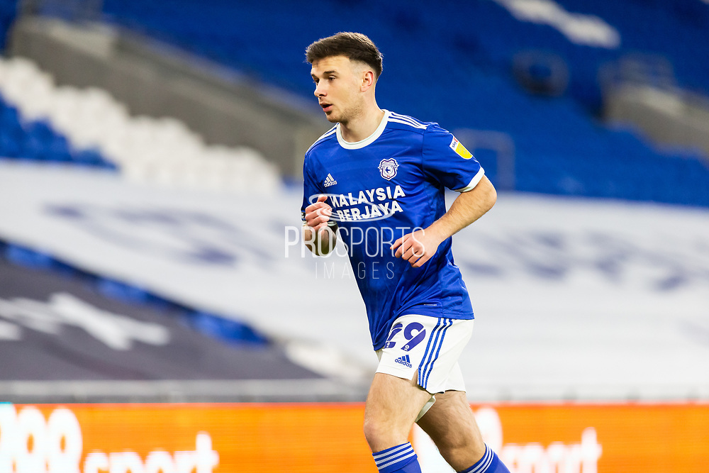 Cardiff City's Mark Harris (29) in action during the EFL Sky Bet Championship match between Cardiff City and Birmingham City at the Cardiff City Stadium, Cardiff, Wales on 16 December 2020.