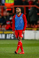 Wales defender Ashley Williams warms up during the Friendly European Championship warm up match between Wales and Trinidad and Tobago at the Racecourse Ground, Wrexham, United Kingdom on 20 March 2019.