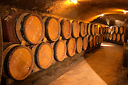 Wooden barrels with aging wine in an underground corridor in the cellar of Guigal in Ampuis.  Domaine E Guigal, Ampuis, Cote Rotie, Rhone, France, Europe