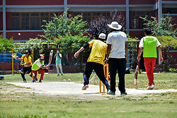 June 30, 2019 - Srinagar, J&K, India - A Kashmiri visually impaired cricket player makes a shot during a match in Srinagar..The first ever blind cricket tournament was organized by J&K Handicapped Association and Disable People's Trust for the visually-impaired players here in Srinagar. The motive behind this tournament is to encourage players to take part in sports events and boost their morals so that they can also make a career in sports. (Credit Image: © Saqib Majeed/SOPA Images via ZUMA Wire)