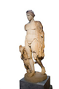 Greece, Athens, National Archaeology Museum. Statue of Hermes 2nd century CE on white background
