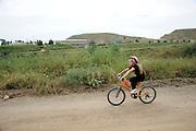 Israel, Gan Region, Hiriya, Sharon Park a cyclist