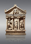 """Roman Herakles (Hercules)  relief sculptured sarcophagus, 2nd century AD, Perge, inv 928. it is from the group of tombs classified as. """"Columned Sarcophagi of Asia Minor"""".  Antalya Archaeology Museum, Turkey. Against a grey background..<br /> <br /> If you prefer to buy from our ALAMY STOCK LIBRARY page at https://www.alamy.com/portfolio/paul-williams-funkystock/greco-roman-sculptures.html . Type -    Antalya    - into LOWER SEARCH WITHIN GALLERY box - Refine search by adding a subject, place, background colour, etc.<br /> <br /> Visit our ROMAN WORLD PHOTO COLLECTIONS for more photos to download or buy as wall art prints https://funkystock.photoshelter.com/gallery-collection/The-Romans-Art-Artefacts-Antiquities-Historic-Sites-Pictures-Images/C0000r2uLJJo9_s0"""