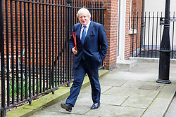 © Licensed to London News Pictures. 14/03/2017. London, UK. Foreign Secretary BORIS JOHNSON leaves Downing Street after a cabinet meeting on Tuesday, 14 March 2017. Photo credit: Tolga Akmen/LNP