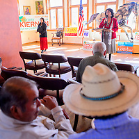 103014       Cable Hoover<br /> <br /> New Mexico Public Regulation Commission candidate Lynda Lovejoy addresses the crowd at a Get Out the Vote rally for the democratic party Thursday at the Gallup Cultural Center.