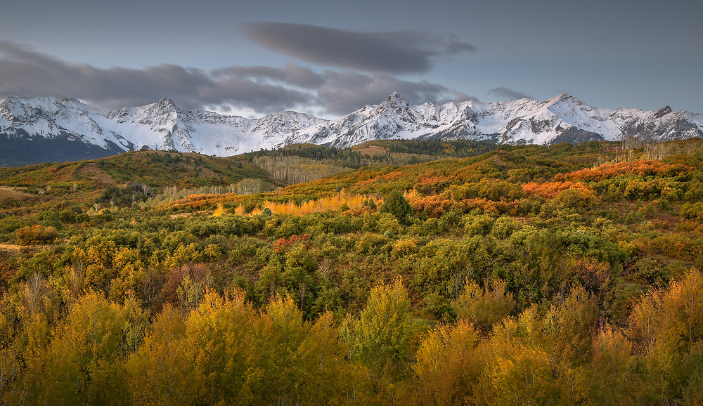 The Sneffels Range on a beautiful autumn morning, as seen from the high pass known as Dallas Divide.<br /> <br /> Uncompahgre National Forest, Colorado