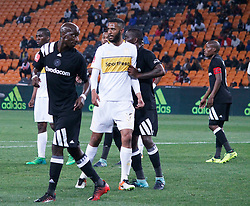 Taariq Fielies of Cape Town City and Musa Nyatama in a match between Orlando Pirates  and Cape Town City at  Fnb Stadium on Tuesday September 19, 2017.