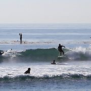 A crowd of surfers compete for waves at famed Malibu Beach.