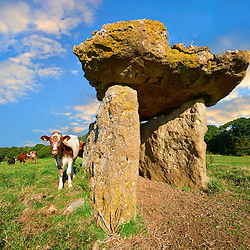 The megalithic St Lythans burial chamber, in Welsh siambr gladdu Lythian Sant, part of a long Neolithic chambered long barrow built about 6000 years ago. Near St Lythans, Vale of Glamorgan, Wales