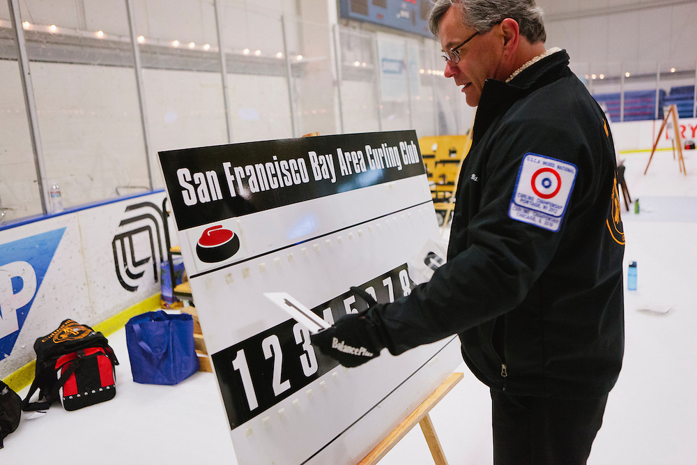 Barry Ivy of Livermore scores an end during the San Francisco Bay Area Curling Club's Tuesday night league at Sharks Ice in San Jose on Jan.15, 2013.
