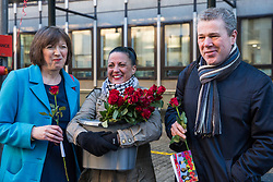 London, UK. 14th February, 2019. Frances O'Grady (l), General Secretary of the Trades Union Congress, and Mark Serwotka (r), General Secretary of the Public & Commercial Services (PCS) union, show solidarity on a Valentine's Day-themed picket line outside the Department of Business, Energy and Industrial Strategy (BEIS) with outsourced support staff taking strike action to demand the London Living Wage and an end to outsourcing.