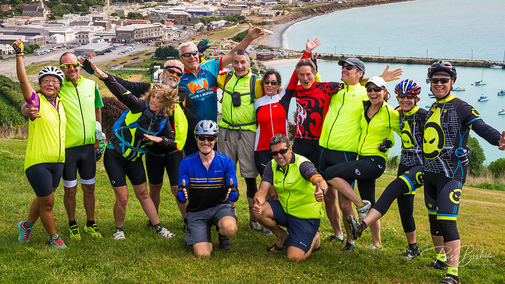 Smiling faces in Oamaru on the REI Adventures Cycle New Zealand trip