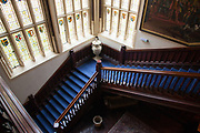 The communal staircase and great hall in Wyfold Court, Henley-on-Thames. CREDIT: Vanessa Berberian for The Wall Street Journal. COUNTRY-Henley-on-Thames