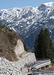 19.04.2018, Lienz, AUT, Tour of the Alps, Österreich, 4. Etappe, von Klausen nach Lienz (134,3 km), im Bild Das Feld am Bannberg // the riders climb the Bannberg during 4th stage from Klausen to Lienz of 2018 Tour of the Alps in Lienz, Austria on 2018/04/19. Lienz, Austria on 2018/04/19. EXPA Pictures © 2018, PhotoCredit: EXPA/ Reinhard Eisenbauer