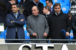 19th March 2017 - Premier League - Manchester City v Liverpool - Man City chairman Khaldoon Al Mubarak (L) and Man City Chief Executive Ferran Soriano (R) stand either side of King Juan Carlos of Spain - Photo: Simon Stacpoole / Offside.