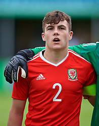 RHYL, WALES - Monday, September 4, 2017: Wales' captain Mitchell Clark lines-up before an Under-19 international friendly match between Wales and Iceland at Belle Vue. (Pic by Paul Greenwood/Propaganda)
