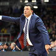 Anadolu Efes's coach Vaggelis Aggelou during their Euroleague Top 16 round 7 basketball match Anadolu Efes between Fenerbahce Ulker at the Abdi Ipekci Arena in Istanbul at Turkey on Friday, February 21, 2014. Photo by Aykut AKICI/TURKPIX