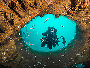KISS rebreather scuba diver on Aeolus shipwreck in North Carolina, USA
