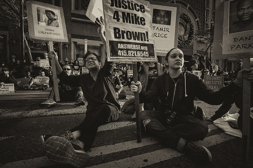 Michael Brown, Eric Garner and alleged police brutality protest and riot on Saturday, Dec. 6, 2014, in Oakland and San Francisco.