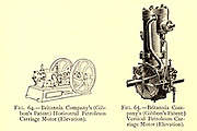 design of Britannia Company's (Gibbon's Patent) Horizontal Petroleum Carriage Motor (Elevation) from the book ' Motor cars; or, Power carriages for common roads ' by Alexander James Wallis-Tayler,  Published in London, by Crosby Lockwood & son 1897