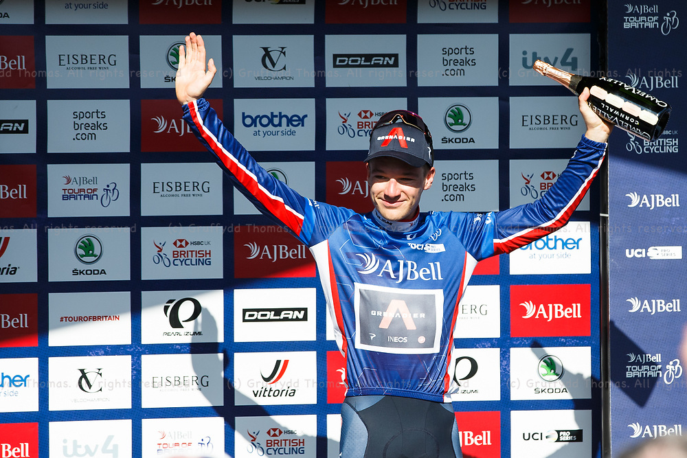 National Botanic Garden of Wales, Llanarthne, Wales, UK. Tuesday 7 September 2021.  Stage 3 of the Tour of Britain cycling race. Ethan Hayter (GBR) of INEOS Grenadiers celebrates being crowned race leader after the Stage 3 time trial.<br /> Credit: Gruffydd Thomas/Alamy