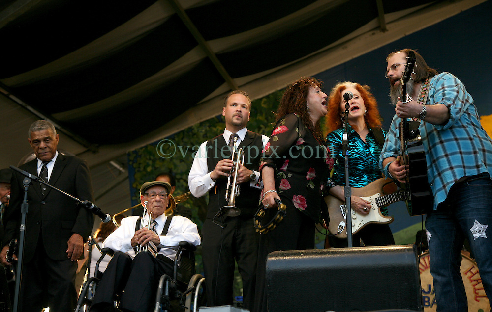 05 May 2012. New Orleans, Louisiana,  USA. <br /> New Orleans Jazz and Heritage Festival. <br /> R/L; Steve, Earle,Bonnie Raitt, 9 time Grammy award winner with Maria Maldaur (Midnight at the Oasis), Mark Braud, centarian trumpet player 'Uncle' Lionel Ferbos and clarinetist Charlie Gabriel of the 'Preservation Hall and Friends' ensemble. <br /> Photo; Charlie Varley