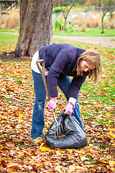 Making leaf mould using a bin bag - piercing with a fork