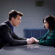 """Crazy Ex-Girlfriend -- """"Nathaniel Is Irrelevant"""" -- Image Number: CEG313d_042.jpg -- Pictured (L-R): Scott Michael Foster as Nathaniel and Rachel Bloom as Rebecca -- Photo: Lisa Rose/The CW -- © 2018 The CW Network, LLC. All Rights Reserved."""