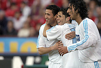 Fotball<br /> UEFA-cup 2003/04<br /> Inter Milan v Olympique Marseille<br /> 14. april 2004<br /> Foto: Digitalsport<br /> NORWAY ONLY<br /> <br /> BRAHIM HEMDANI AND MIDO CONGRATULATE CAMEL MERIEM (OM) AFTER HIS GOAL