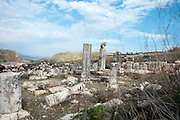 Ruins of the 4th century Synagogue at Arbel in the Galilee, Israel,